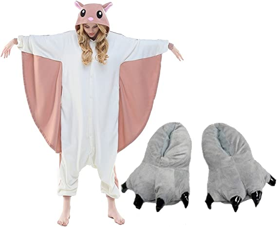Flying Squirrel Costume One Piece Pajamas Monster Shoes Slipper Paw Party Outfit Xl Fits 72 75 Amazon Ca Clothing Accessories
