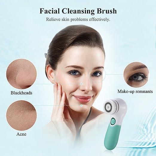 TOUCHBeauty TB-14839 Cepillo Facial Rotatorio Resistente al Agua Para Rostro y Cuerpo Sistema de Limpieza en Profundidad con 2 Cabezales Giratorios,Cepillo ...
