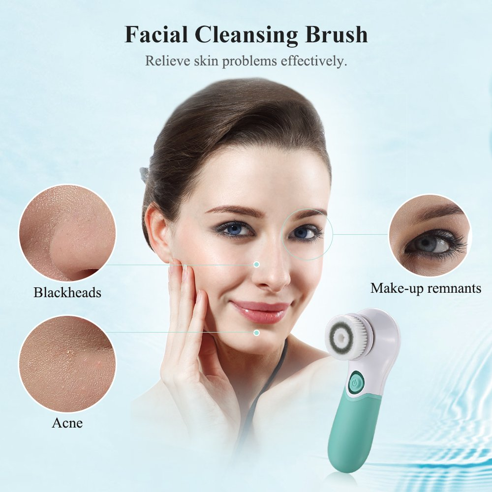 TOUCHBeauty Rotating Facial Brush Waterproof Face & Body Deep Cleansing System with 2 Spin Head, Skin Exfoliator Massager Bathing Brush,Pore Minimizer, Blackhead Remover SPA Skin Care Set TB-14839