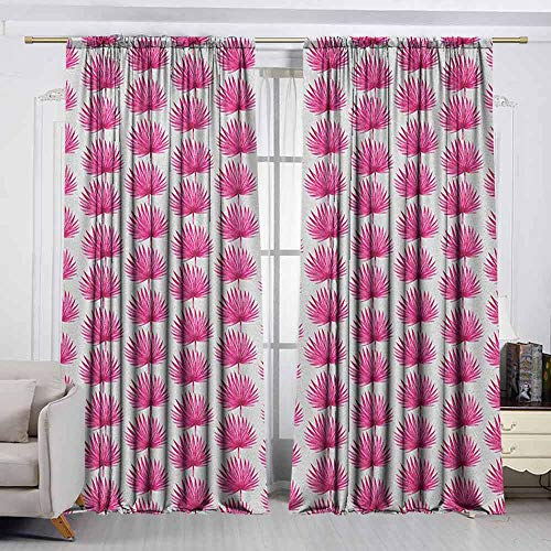 (VIVIDX Thermal Insulated Blackout Curtains,Pink and White,Botanical Hawaii Jungle Pattern with Palm Leaves Exotic Rainforest,Energy Efficient, Room Darkening,W72x72L Inches Magenta and White)