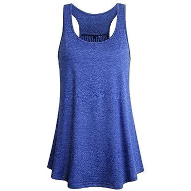 Mujer Camiseta Tirantes Verano Deporte de Gimnasio Camisa Blusa Casual Tops Suelta Camisetas Deporte Fitness Sujetador