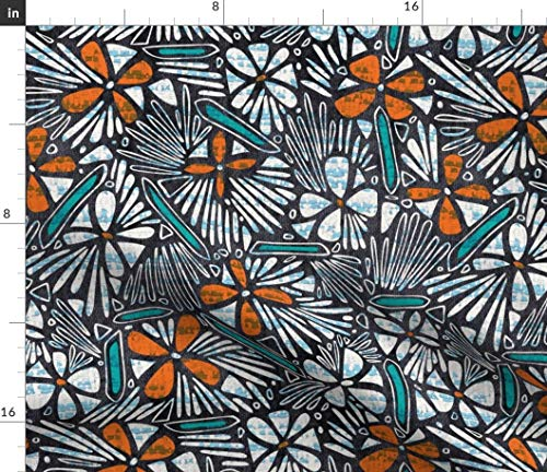 - Floral Fabric - Floral African Modern Decor Upholstery Floral Flower African Tribal Texture Modern Abstract by Heatherdutton Printed on Organic Cotton Knit Ultra Fabric by The Yard
