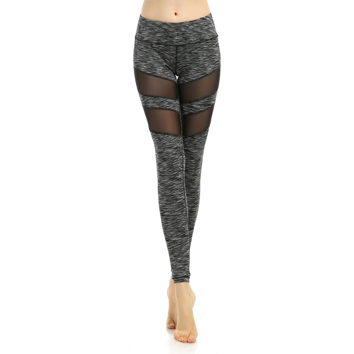 SOUTEAM Women's Workout Mesh Elastic Leggings High Waist Yoga Active Gym Pants