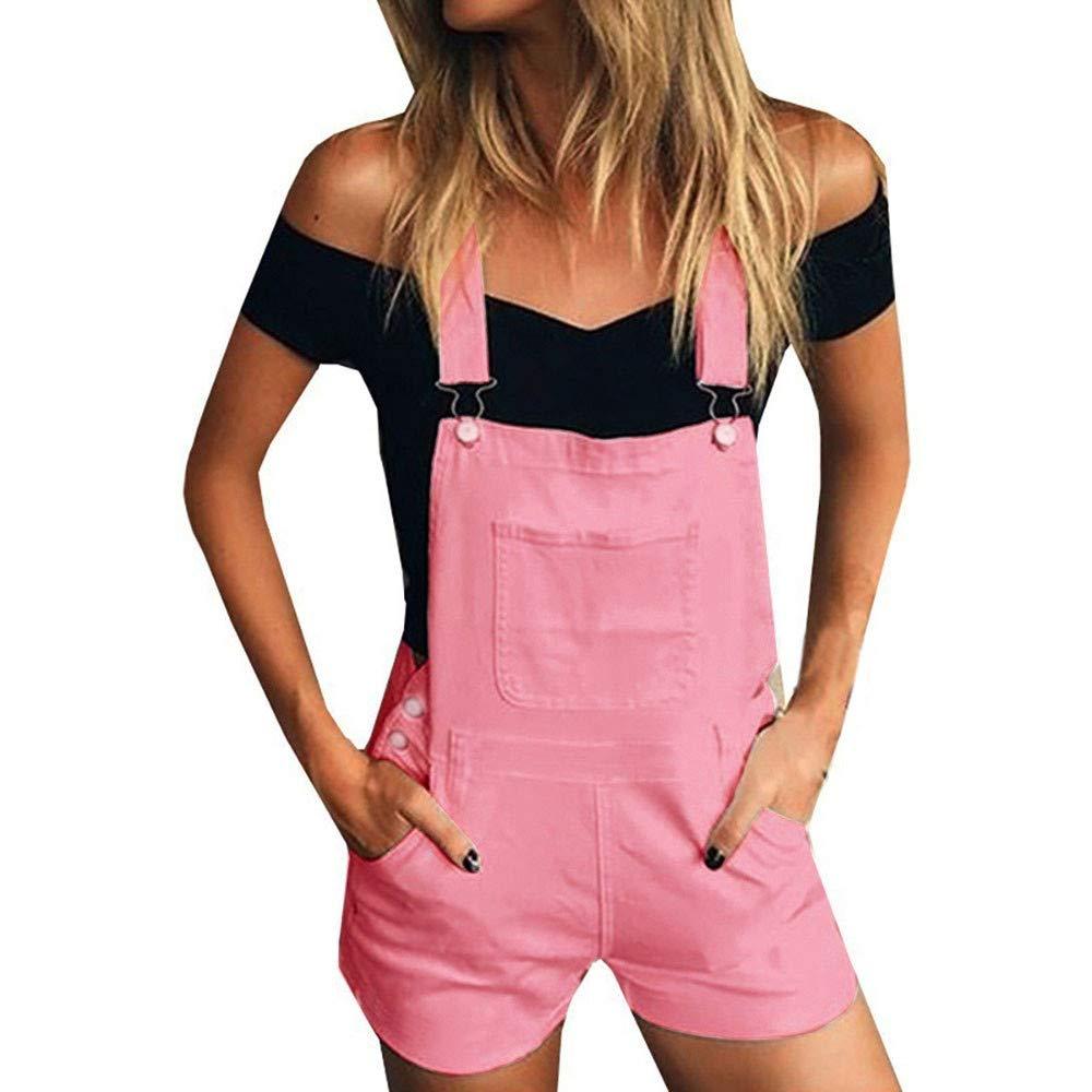Women's Ripped Denim Bib Overall Shorts Raw Hem Shortall Jeans by Dunacifa Women Jumpsuit