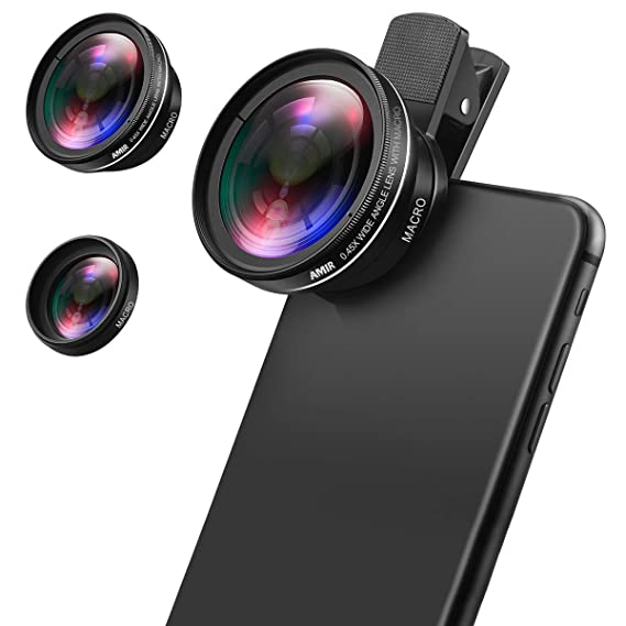 cheap for discount 15bb5 d1be7 AMIR Phone Camera Lens, 0.45X Super Wide Angle Lens + 12.5X Macro Lens,  Clip-On 2 in 1 Professional for iPhone Lens Kit for iPhone 8, X/7, 6/6 ...