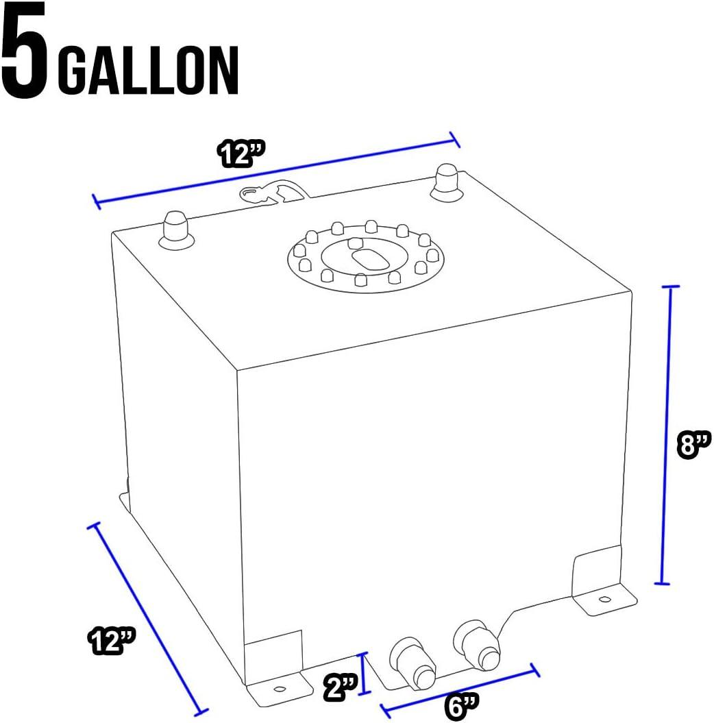 DNAMotoring ALU-FT-T2-ALU-BK Aluminum 5-Gallon Fuel Cell Gas Tank