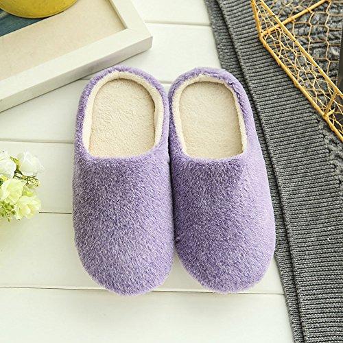 ESHOO invierno cálido antideslizante zapatos Cozy Plush Forro Polar Zapatillas de casa, algodón, café, UK 8-9 Morado