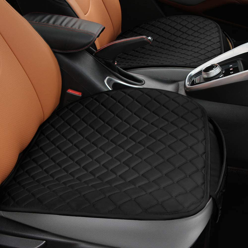 Tsumbay Car Seat Cushion 2pc PU Leather Car Front Seat Cushion with Storage Pouch Auto Interior Breathable Cover Pad Mat Non Slip Car Seat Protector Universal for Home Car Office Chair Use (Black)