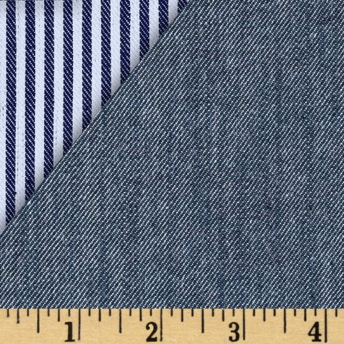 Robert Kaufman Reversible Railroad Stretch Denim Fabric by The Yard, Indigo