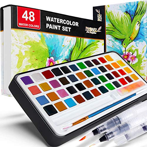 PANDAFLY Watercolor Paint Set, 48 Premium Colors in Gift Box with Bonus Watercolor Paper and Water Brushes, Perfect for Kids, Adults, Beginners, Artists Painting, Sketching, and Illustrating