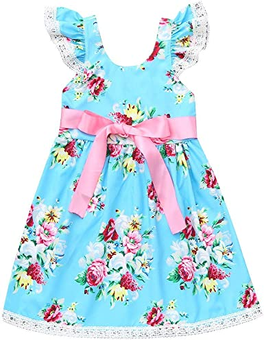 Summer sundress beach party dress for baby girls toddler kids gifts 12M-4T size