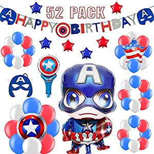 52 PACK Hero Birthday Party Decorations for Kids – Happy Birthday Banner, Colorful Balloons, Super Hero Mask, Wand | Aster Birthday Supplies Set for 1st 2nd 3rd 4-12 year boys