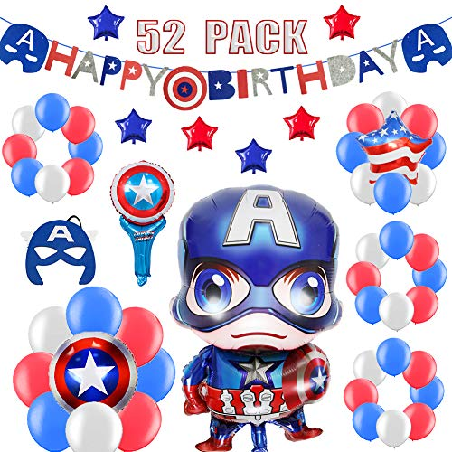 52 PACK Hero Birthday Party Decorations for Kids - Happy Birthday Banner, Colorful Balloons, Super Hero Mask, Wand | Aster Birthday Supplies Set for 1st 2nd 3rd 4-12 year boys ()