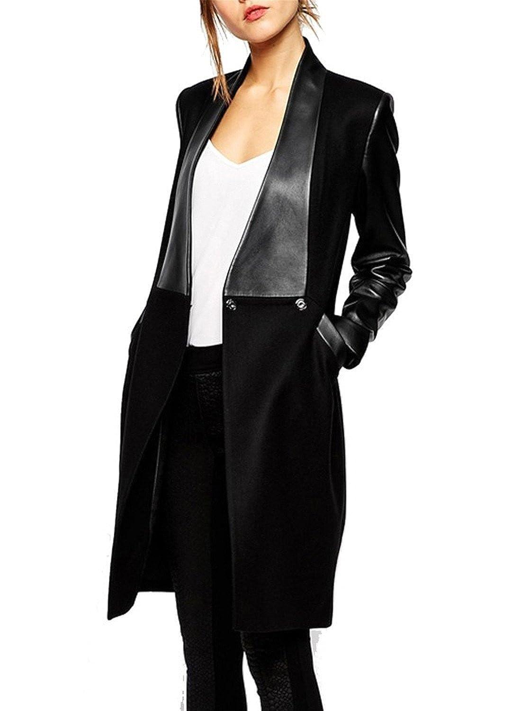 Penin Women Leather Stitching Long Woolen Overcoat