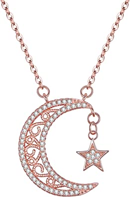 CZ Crystal Moon and Teardrop Necklace in Silver Gold or Rose Gold  Wedding Jewelry  Delicate Fashion Silver Chain  Gift for Her