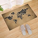 JANNINSE Usa Map World Map Small Doormat, Hotel Quality Polyester Flannel, Indoor And Outdoor Entrance Carpet Pad Insole Scraper Insole, Entrance Mat, Black Brown, 18X30 Inches