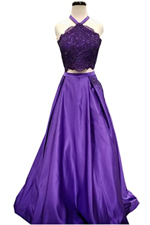 Mollybridal Halter Lace Prom Dress A Line with Pockets Long Sequins Beaded Satin Evening Gowns Purple
