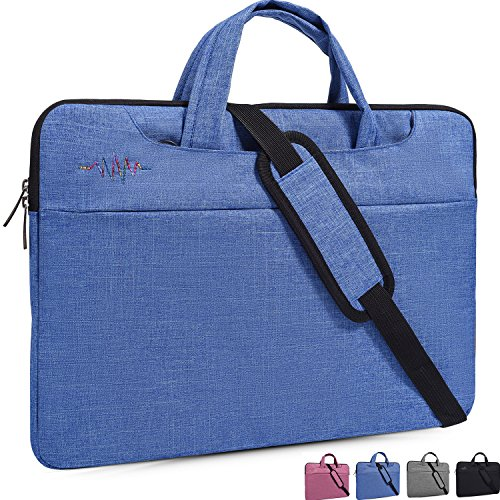 Sleeve Case,Laptop Shoulder Bag,with Hidden Handle and Adjustable Shoulder Strap,Women/Men Simplicity Slim Briefcase Messenger Bag Portable Handbag,Light Blue ()