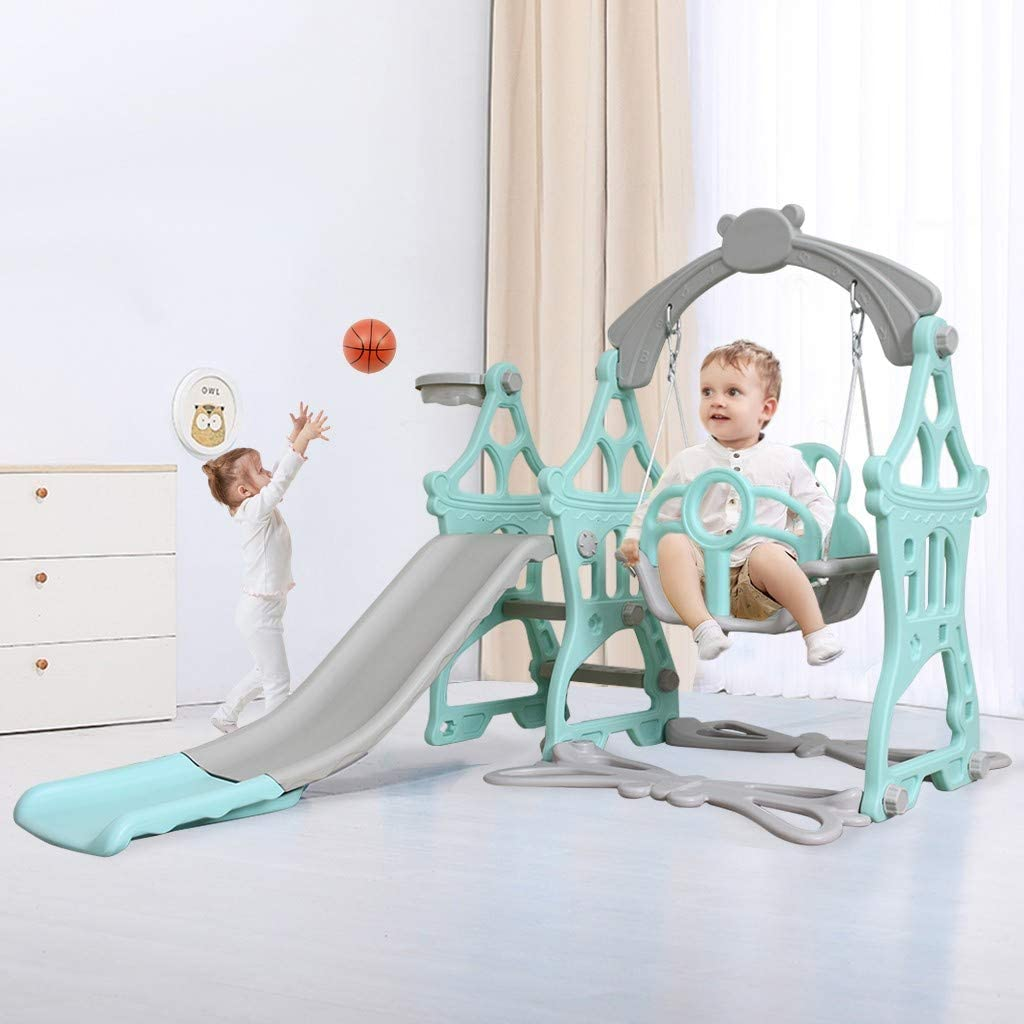 OKBOP Toddler Slide and Swing Set, 3 in 1 Sturdy Kids Climber Slide Toy Playset with Basketball Hoop, Extra Long Slide for Kids Indoor Outdoor Backyard Playground Activity