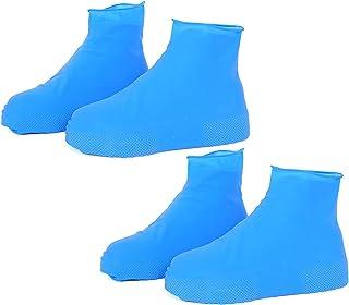 Gosear Couvre Chaussures, 2 Paires Réutilisables Imperméables Anti-dérapants en Latex Chaussure de Protection de la Neige Couvre-Chaussures pour Hommes Femmes Bleu Taille L