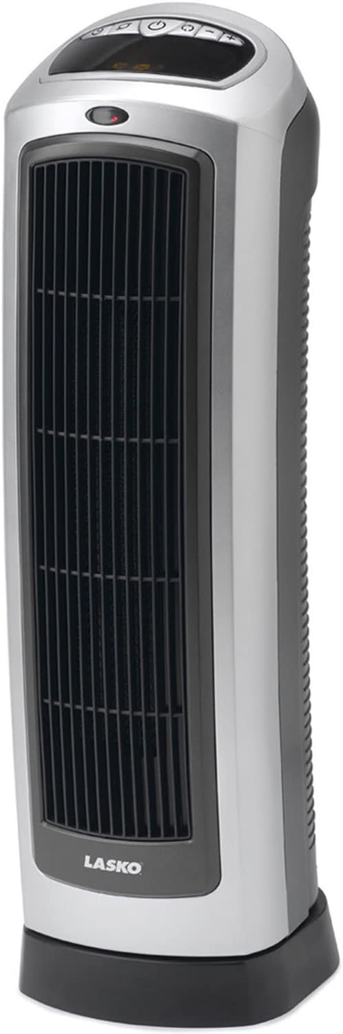 Lasko Tower Ceramic Heater 2 Heat Settings PLUS Automatic Temperature Control, Built-In Safety Features & Carry Handle, Multi-Functional Remote Control Included