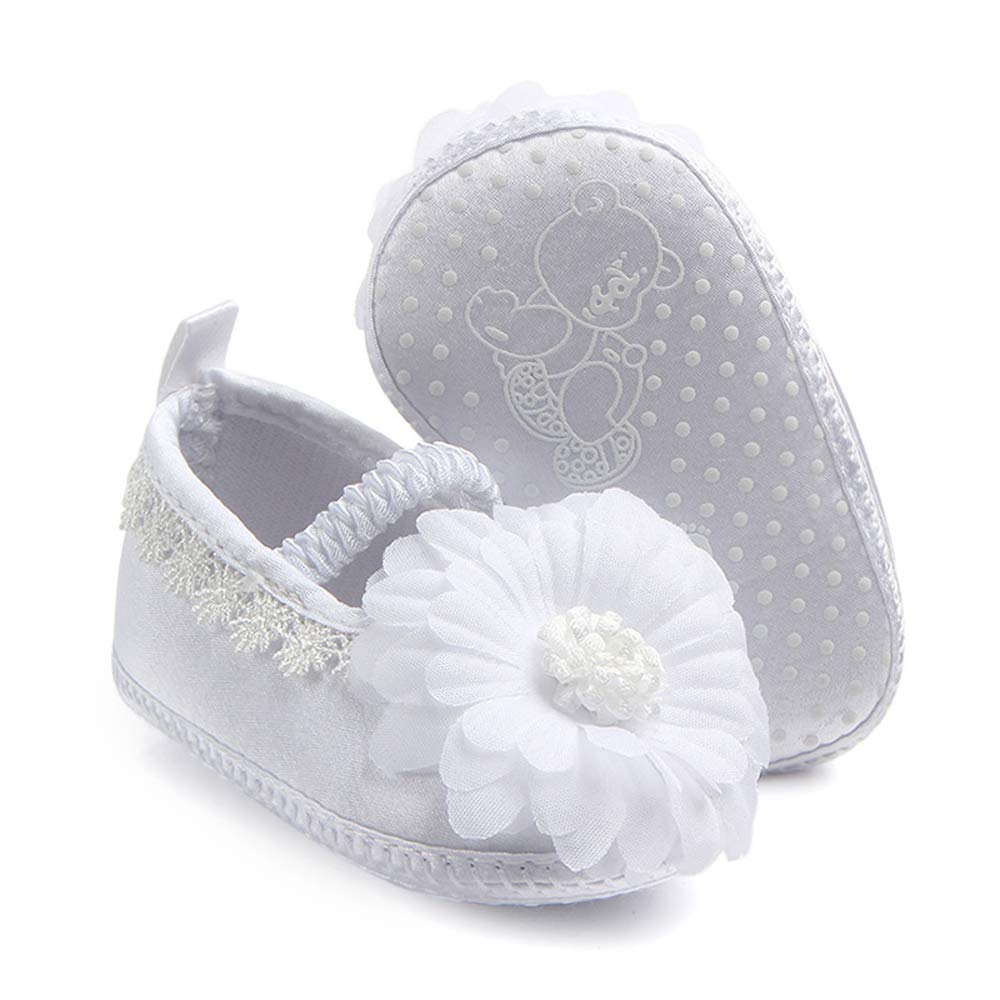 Cheeyi Baby Girl Christening Baptism Shoes Wedding White Lace Slipper Infant Crib Shoes