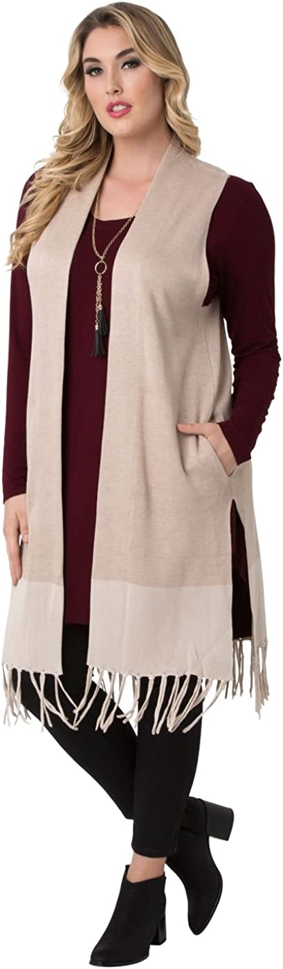 Kiyonna Womens Plus Size Fringe Vest by Lysse
