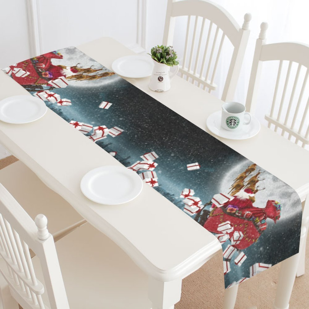 InterestPrint Happy Christmas Day Table Runner Home Decor 14 X 72 Inch,Christmas Santa Claus Table Cloth Runner for Wedding Party Banquet Decoration