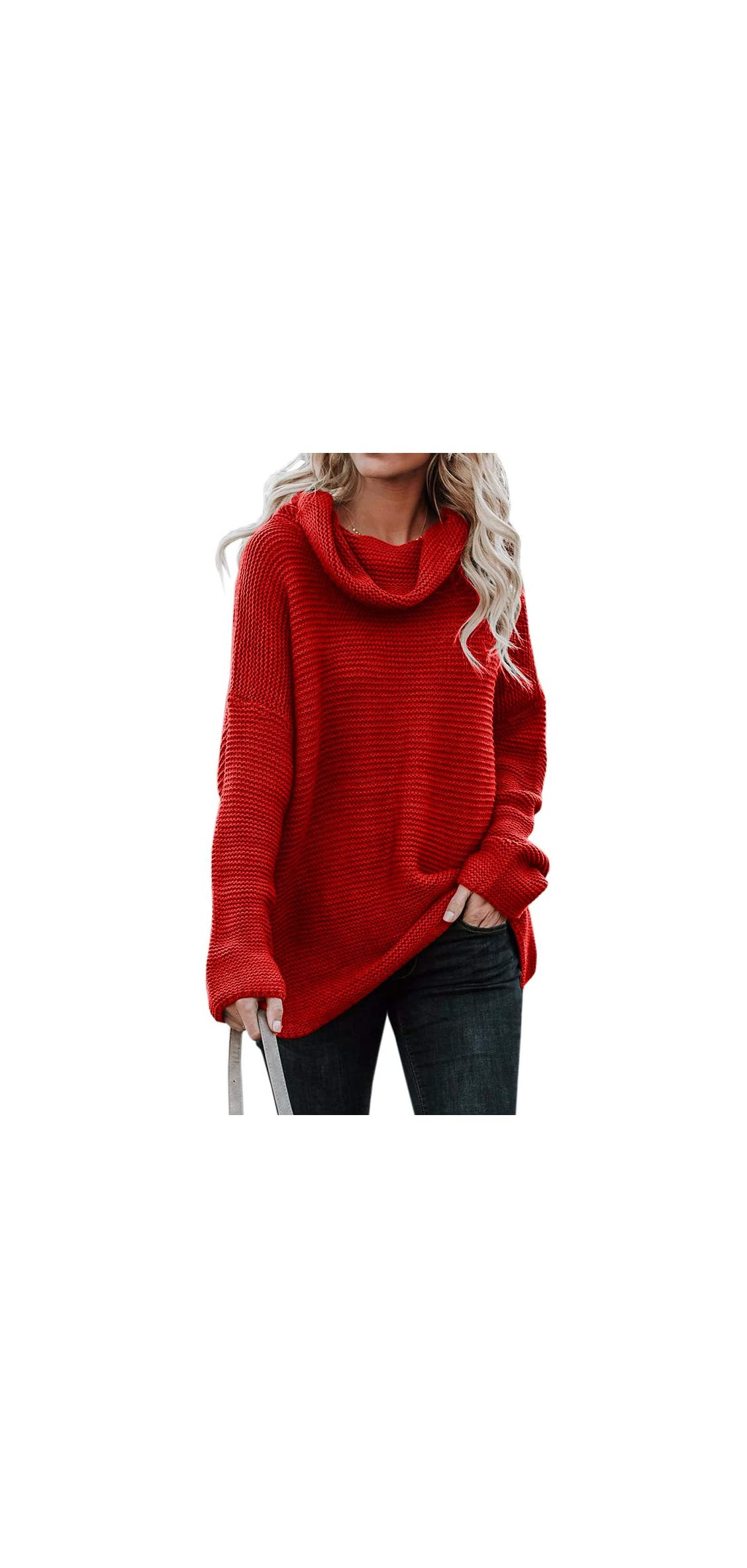 Womens Oversized Turtleneck Long Sleeve Pullover