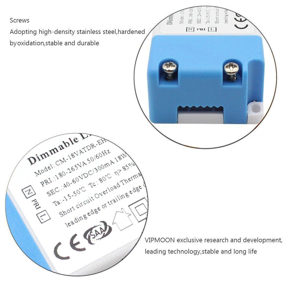 regulable entre 3-100 vatios con ajuste de progresi/ón continua CE VIPMOON/® Dimmer led Blanco para luces LED y bombillas regulables interruptor de apagado regulador de luz 220-240V