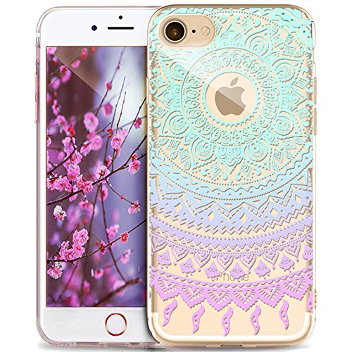 iPhone 5S Case,iPhone SE Case,iPhone 5 Case,ikasus Ultra Thin Soft TPU Datura Mandala Sun Lace Flowers Soft Silicone Rubber Bumper Case,Crystal Clear Soft Floral Silicone Case for iPhone 5S 5 SE,#7