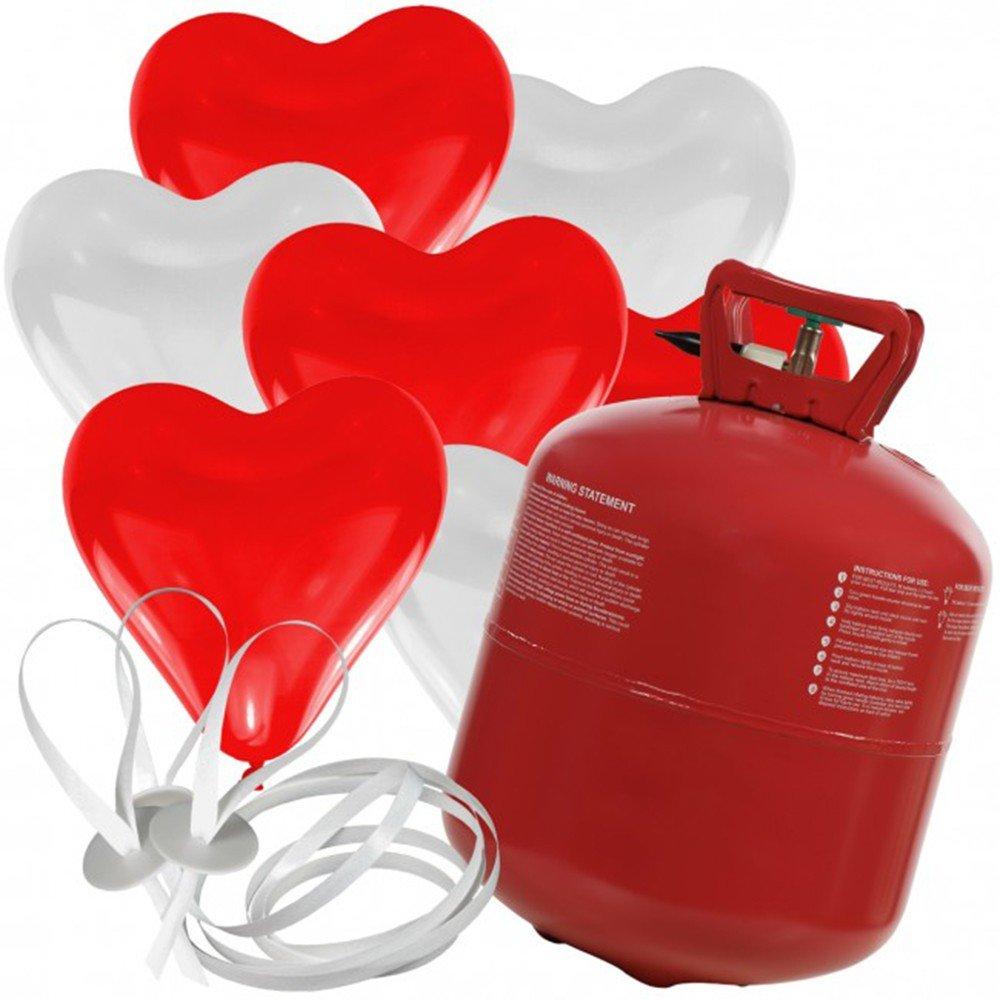 50 Herz Luftballons freie Farbwahl mit Helium Ballon Gas Hochzeit Valentinstag Komplettset (Rot/Weiß)