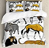 Ambesonne Zoo Duvet Cover Set King Size, Collection of Cartoon Style Wild Animals of Africa Fauna Habitat Savannah Wilderness, Decorative 3 Piece Bedding Set with 2 Pillow Shams, Multicolor