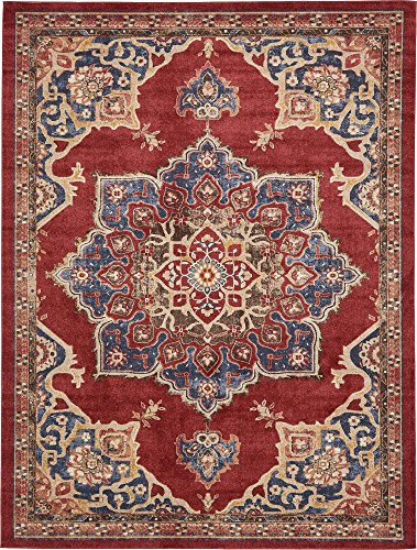 Unique Loom Utopia Collection Traditional Medallion Vintage Warm Tones Burgundy Area Rug (9' 0 x 12' 0)