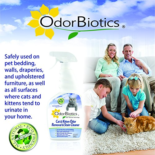 OdorBiotics Pet Stain-Odor Eliminator for Cat Litter Boxes, Small Animal Cages for Chinchilla, Ferret, Guinea Pig Bedding, Hamster and Bunny Rabbit Houses, Carpet Fabric Stains, 32 oz Spray Bottle by OdorBiotics (Image #6)