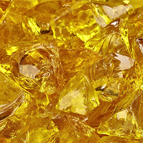 Sunflower Yellow - Crushed Fire Glass for Indoor and Outdoor Fire Pits or Fireplaces | 10 Pounds | 1/2 Inch - 3/4 Inch