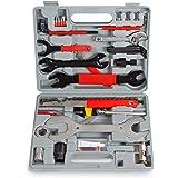 TecTake 44 Pièces Coffret d'Outils Vélo Multifonction de Réparation et Entretien avec Malette Compacte