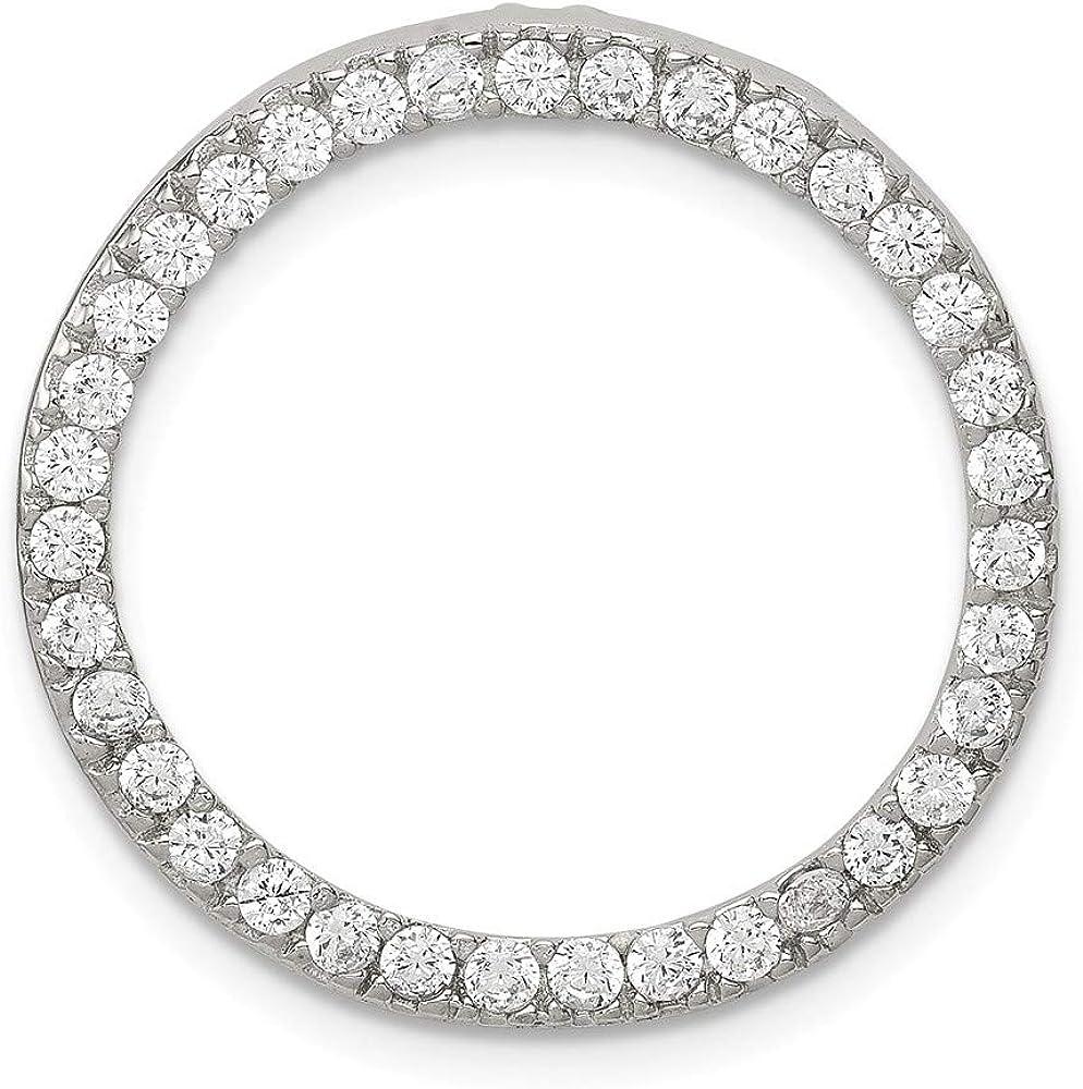 DiamondJewelryNY Sterling Silver Cz Round Pendant
