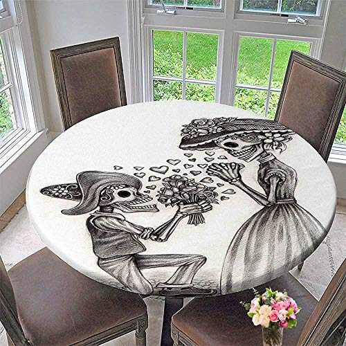 Mikihome Modern Simple Round Tablecloth The Dead Decor Mariage Proposal Till Life do us Apart Dead Day Festive Decoration Washable 43.5