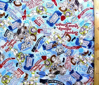 <Qキャラクター・キルティング生地>トイストーリー (ブルー)#26・ ディズニーの商品画像