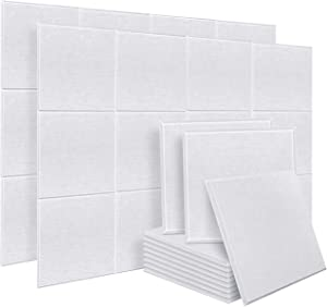 DEKIRU 20 Pack Acoustic Panels Sound Dampening Panels, 12 X 12 X 0.4 Inches Sound Proof Padding Beveled Edge Tiles, Great for Wall Decoration and Acoustic Treatment (White)