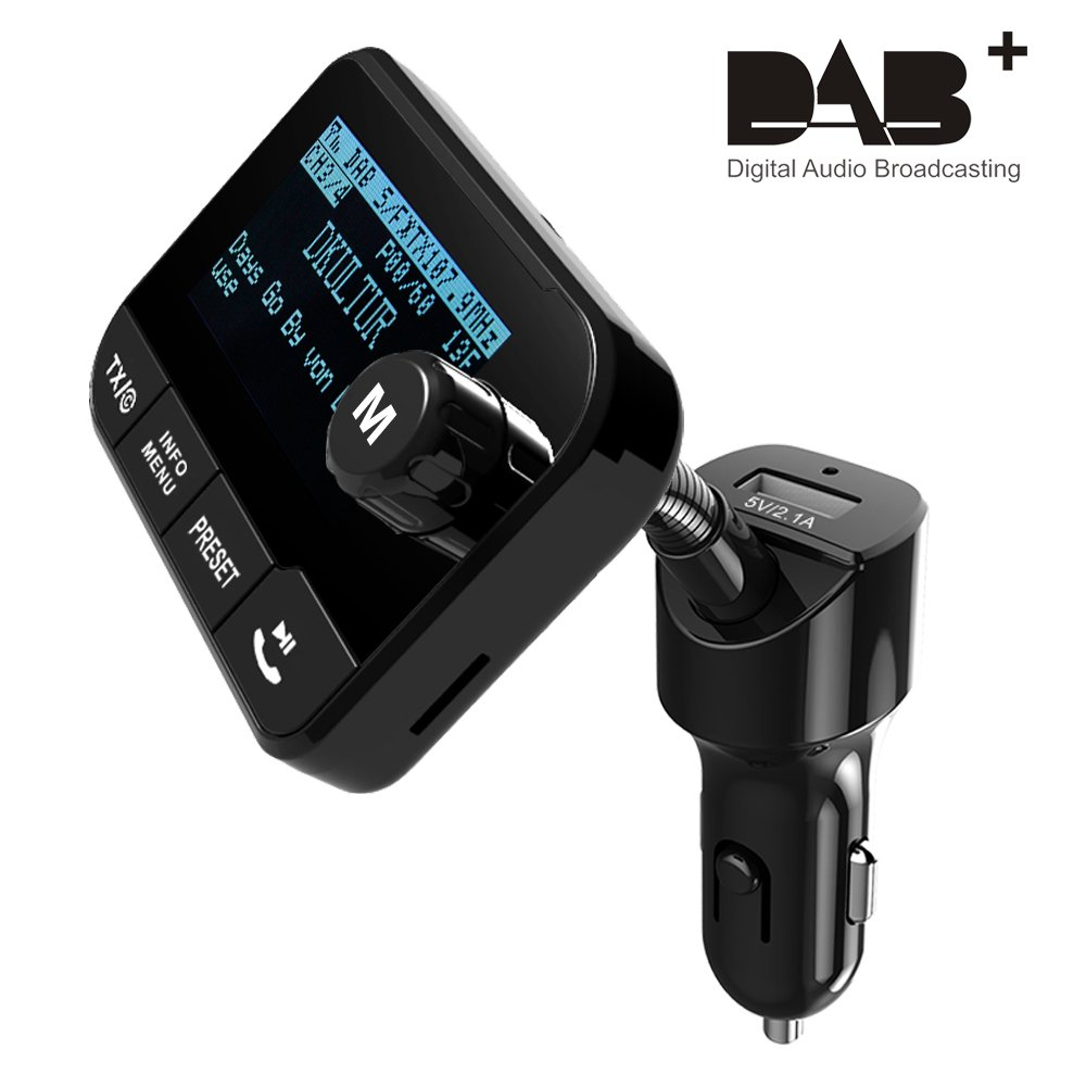 Adapter Blufree In Car DAB//DAB 2.3 Display DAB Digital Radio Bluetooth FM Transmitter Handsfree Call /& Music Streaming Car Kits+Play TF Card 64G 3.5mm AUX Out+3M Active DAB Antenna+USB Car Charger