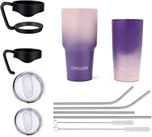 Ezprogear 20 oz 30 oz Stainless Steel Vacuum Insulated Double Wall Tumbler with Straws and Handle (20 oz & 30 oz, Pink/Purple)