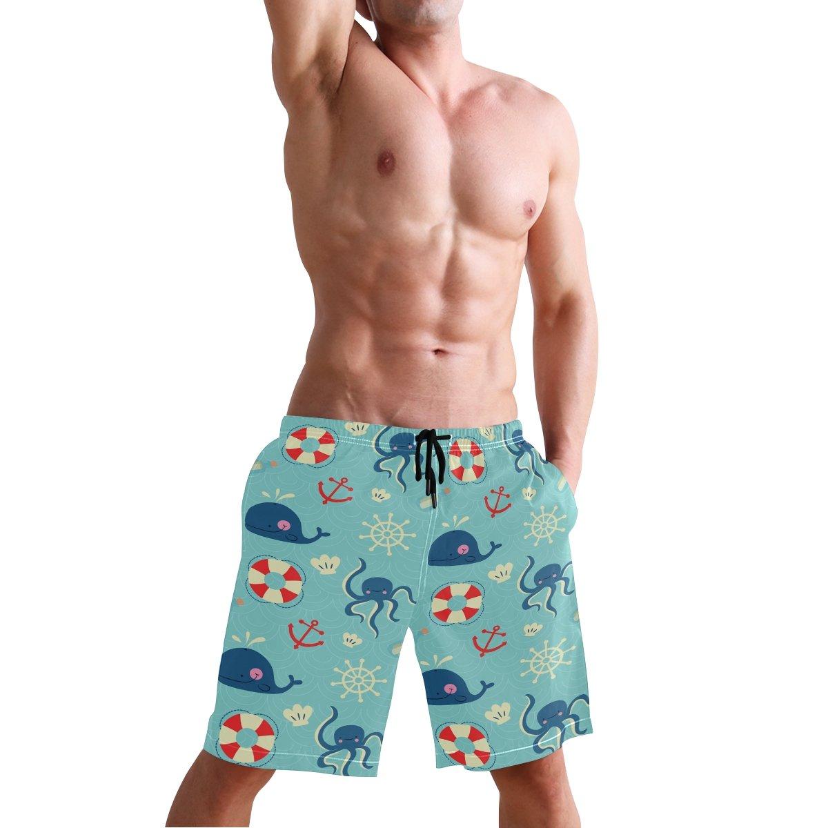 Cartoon Ocean Element Animal Mens Swim Trunks Quick Dry Beach Board Shorts with Drawstring Pocket