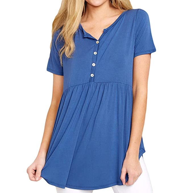 1d15b3c8c56 Yucode Women New Sexy Solid Buttoned Short Sleeve O-Neck Blouse Pleated  Shirt Casual Tops