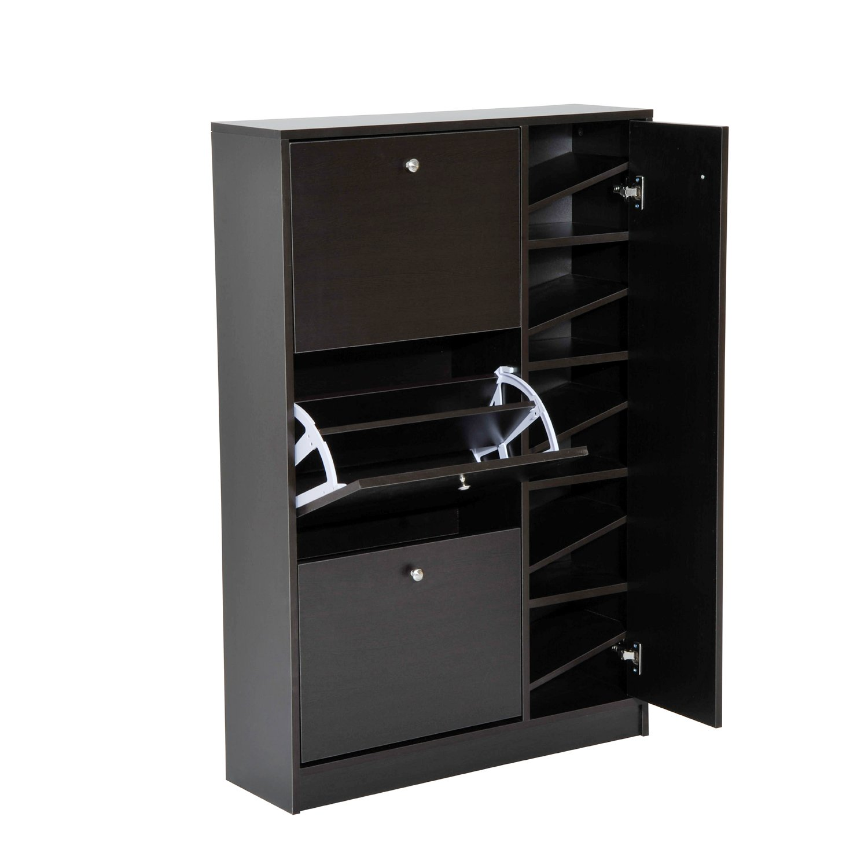 HomCom Compact Entryway Free Standing Ladies / Kids Shoe Cabinet Organizer Closet - Espresso Brown