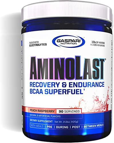 Gaspari Nutrition Amino Last, Muscle Recovery Endurance Powder, BCAA, Peach Raspberry, 30 Serving