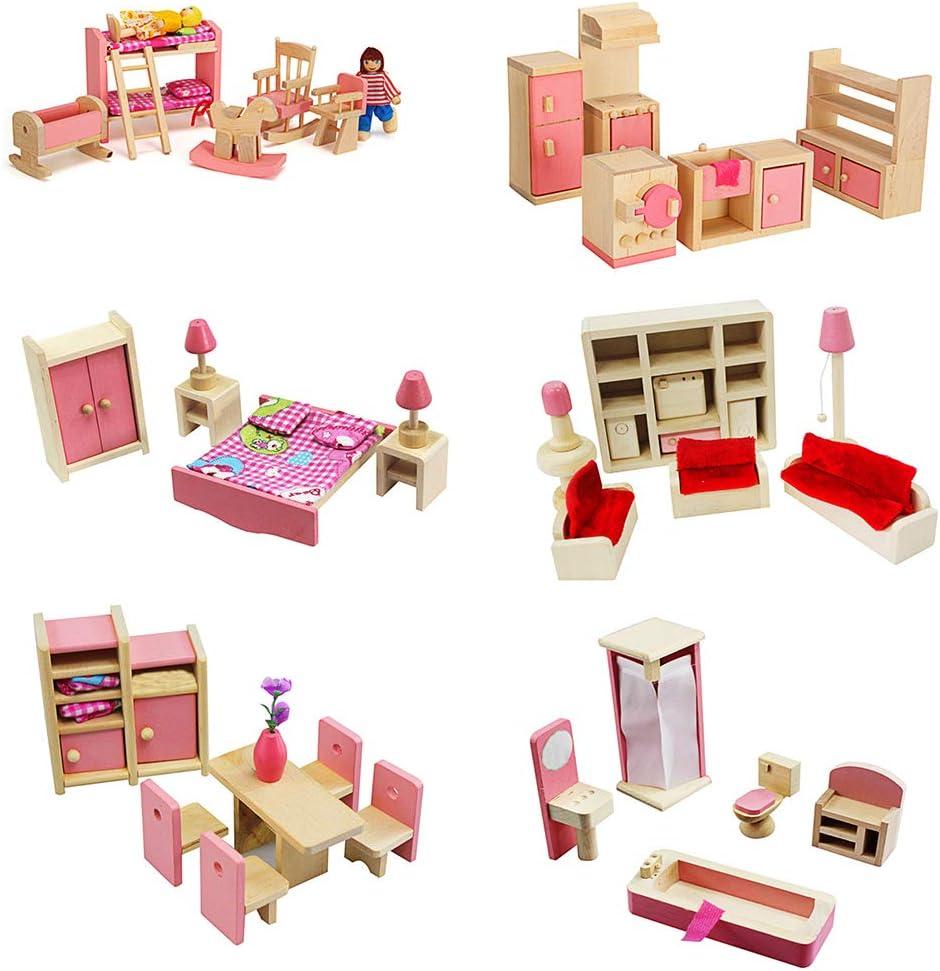 MIKI-Z 1 Set 1:12 Casa de muñecas en Miniatura Muebles de Madera Juego de niños Juguetes Regalo para Dollhouse Decoración de la Escena de la Vida