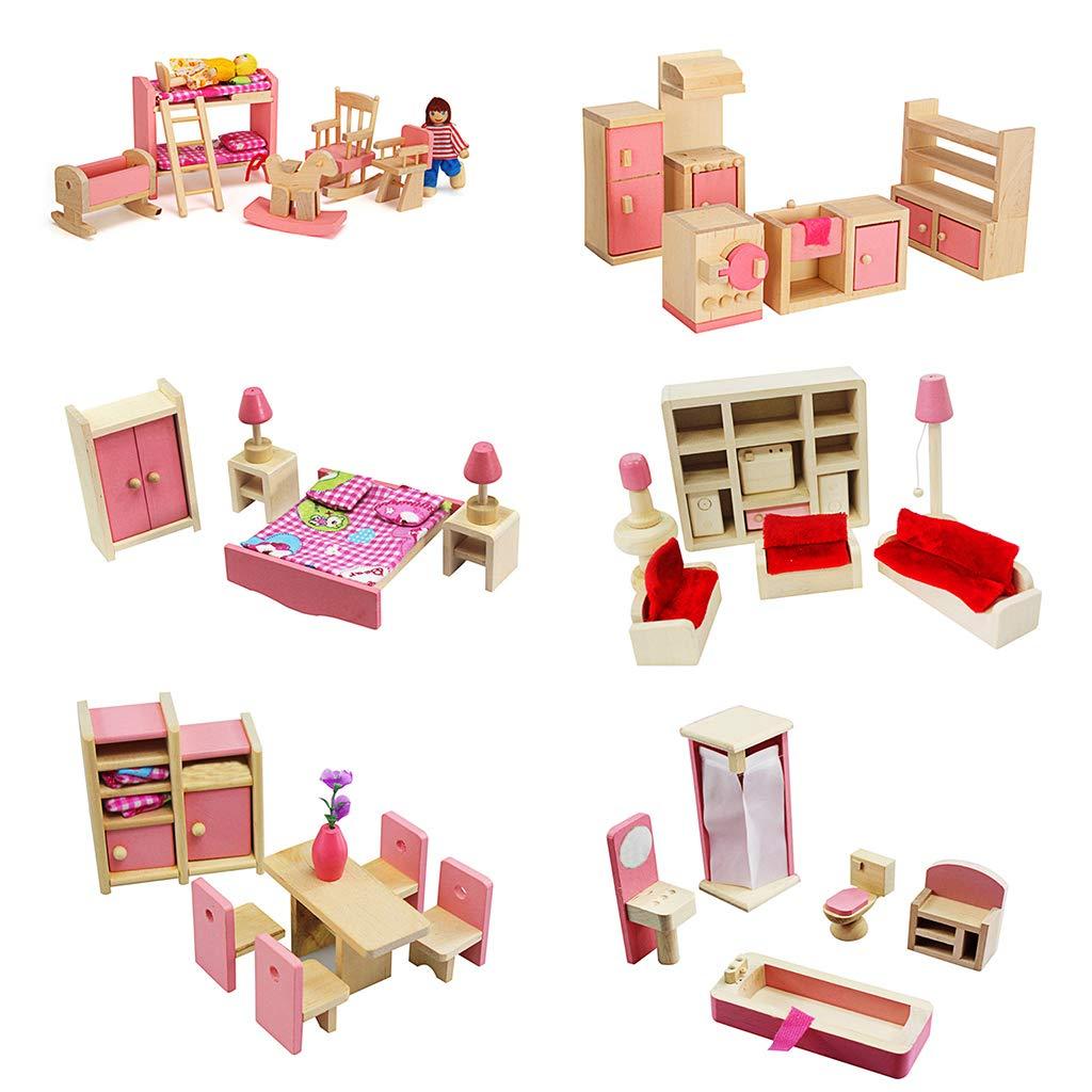 1 Juego 1:12 Miniatura casa de mu/ñecas Muebles de Madera Juego de ni/ños Juguetes Regalo para casa de mu/ñecas decoraci/ón de la Escena de la Vida Junlinto