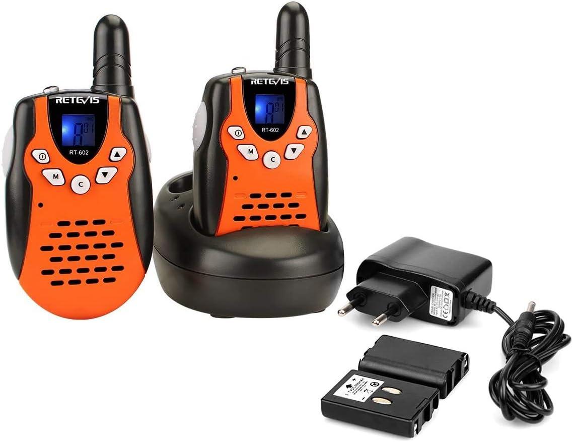 Retevis RT602 Walkie Talkie Niños Recargable PMR446 8 Canales Pantalla LCD VOX Linterna Regalo para Niños Walkie Talkie Juguete con Cargador y Batería (Negro y Naranja, 1 par)